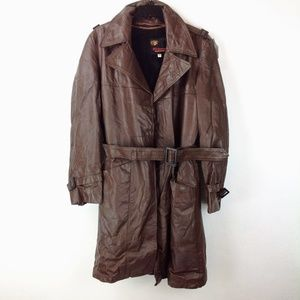 Brown vintage Richman Brothers leather coat with l
